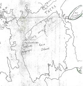 Part of Beynon's Plate II map, showing Kaien Island