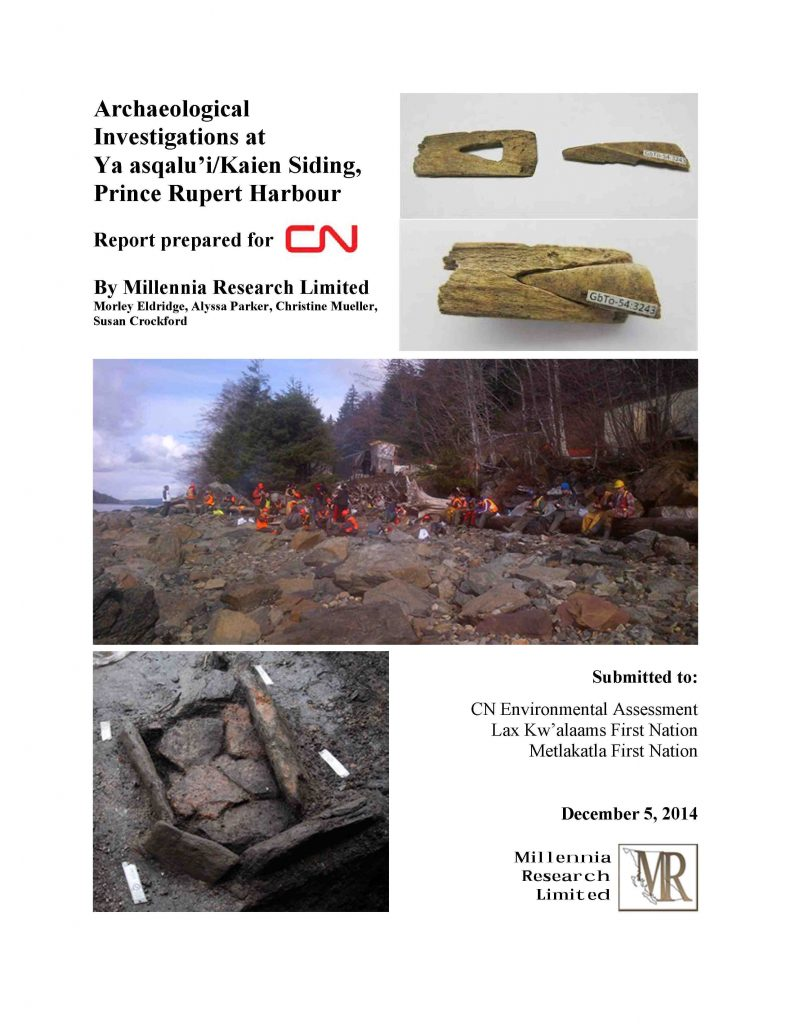Archaeological Investigations at Ya asqualu'i/Kaien Siding, Prince Rupert Harbour